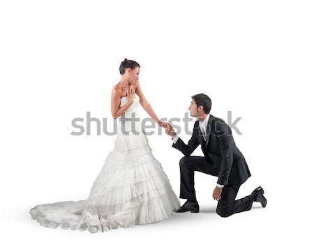 Małżeństwa wniosek mąż romantyczny rodziny człowiek Zdjęcia stock © alphaspirit