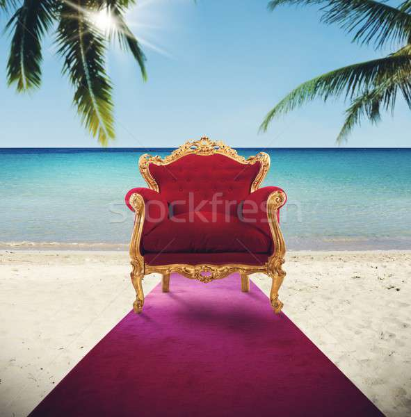 Real vacaciones sillón alfombra roja playa tropical moda Foto stock © alphaspirit