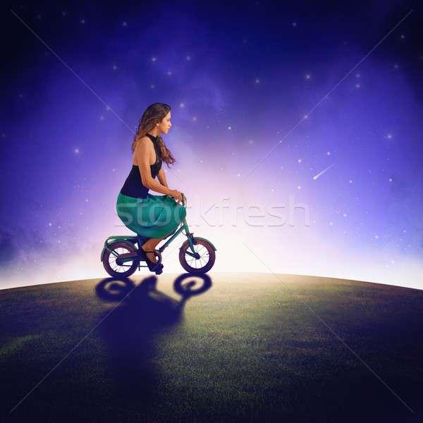 звезды девушки велосипедов женщину свет звездой Сток-фото © alphaspirit