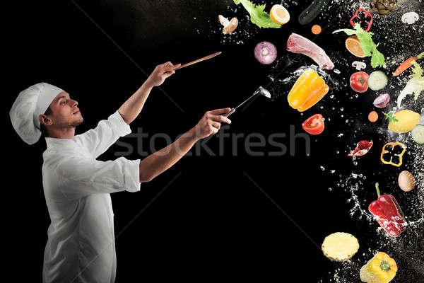 食品 ミュージカル ハーモニー シェフ 男 少年 ストックフォト © alphaspirit