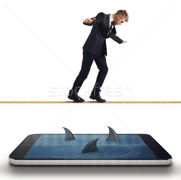 üzletember gond okostelefon nehézség üzlet telefon Stock fotó © alphaspirit