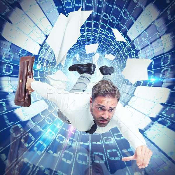 Internet Geschwindigkeit Geschäftsmann Abhängigkeit Computer Arbeit Stock foto © alphaspirit