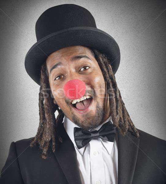 Elegante clown glimlacht Rood neus partij Stockfoto © alphaspirit