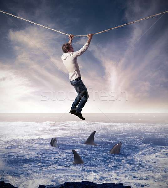 Kockázat üzlet nehéz ügyek üzletember óceán Stock fotó © alphaspirit