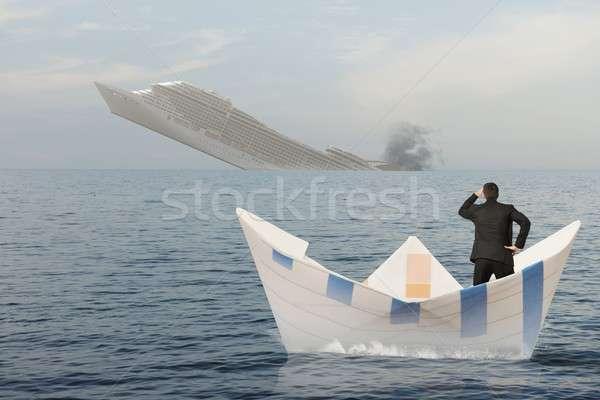 Hajó süllyed tenger üzlet válság víz Stock fotó © alphaspirit