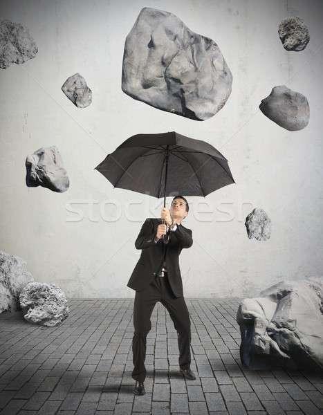 Barınak fırtına kriz işadamı iş taş Stok fotoğraf © alphaspirit