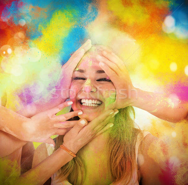 Play with colored powders Stock photo © alphaspirit