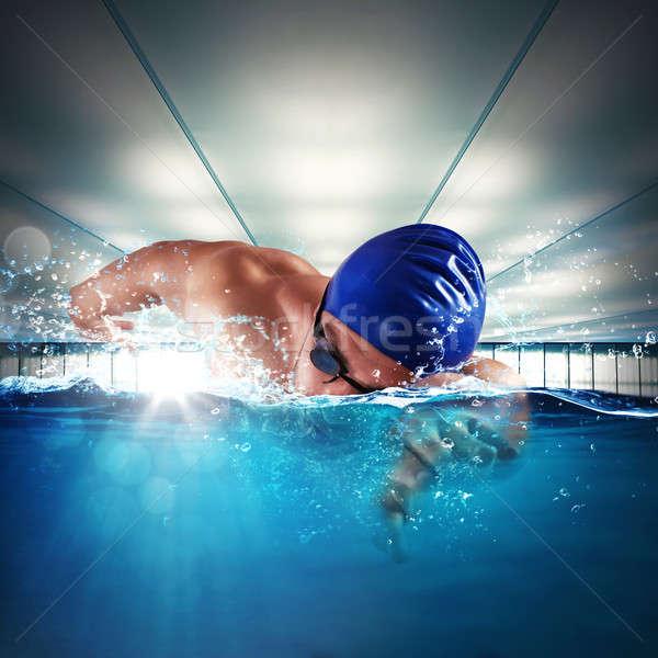 профессиональных пловец человека Бассейн воды фитнес Сток-фото © alphaspirit