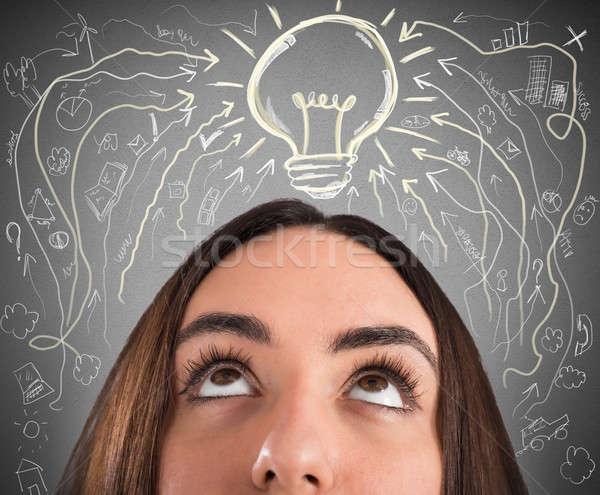 Iş fikir kadın ampul çizimler üzerinde Stok fotoğraf © alphaspirit