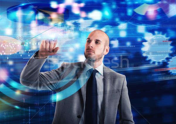 Virtual screen business system Stock photo © alphaspirit