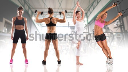 Fitness workout with women coach Stock photo © alphaspirit
