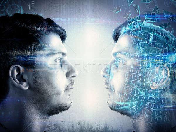 Digitális arculat másolat férfi készít arc Stock fotó © alphaspirit