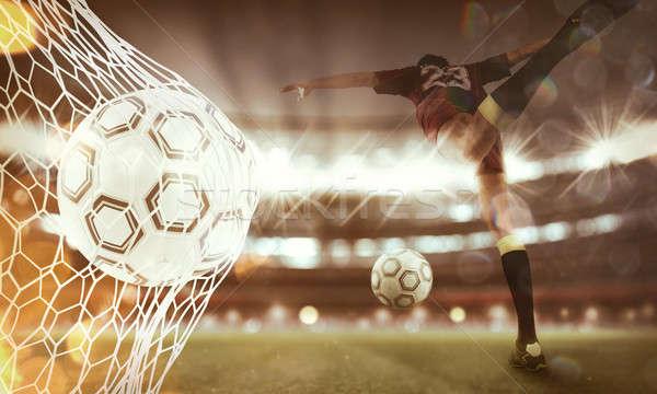 Stock fotó: Futballabda · gól · net · 3D · renderelt · kép · dupla