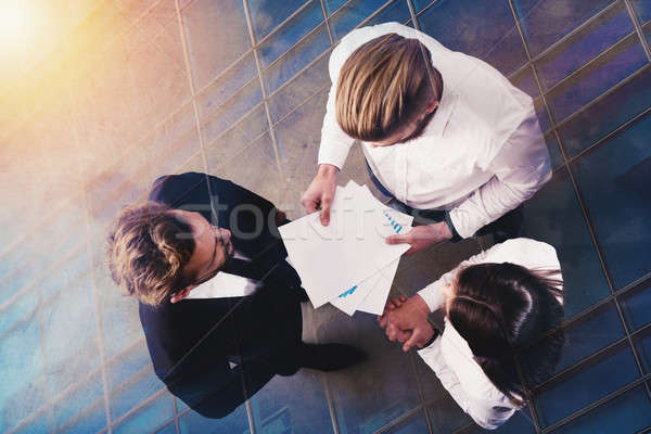 Iş adamları istatistik numara şirket çift maruz kalma Stok fotoğraf © alphaspirit
