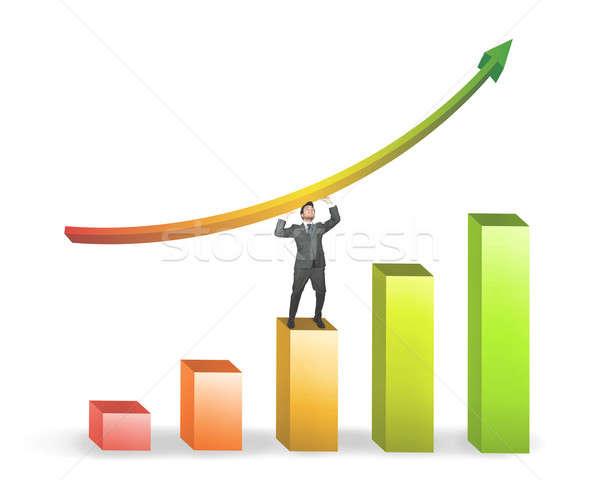 Hombre de negocios positivo estadística éxito empresario verde Foto stock © alphaspirit