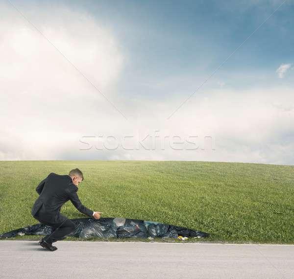 ごみ 環境 ビジネスマン 緑 フィールド 草 ストックフォト © alphaspirit