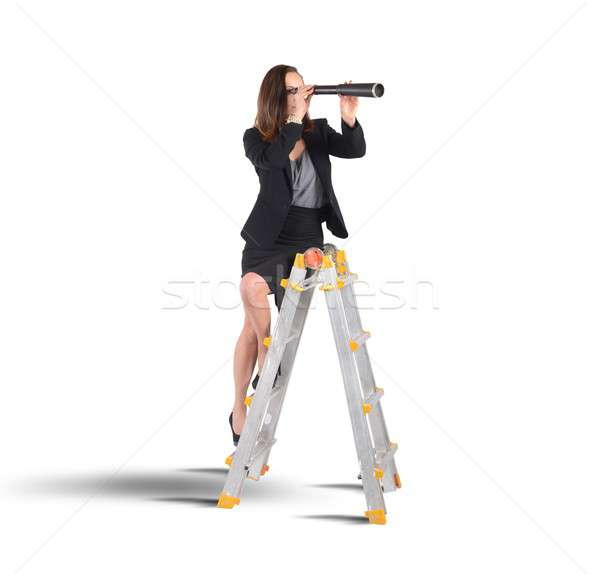 Businesswoman looking for new goals Stock photo © alphaspirit