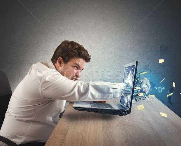 Foto stock: Empresário · fora · trabalhar · dar · homem