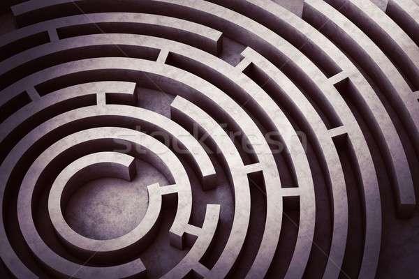 Körkörös labirintus kép fölött kérdés elveszett Stock fotó © alphaspirit