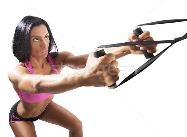 Workout with trx Stock photo © alphaspirit