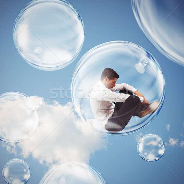 внутри пузыря печально бизнесмен за пределами Сток-фото © alphaspirit