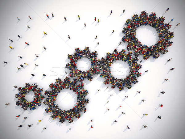 3D Rendering gear concept teamwork system. Stock photo © alphaspirit