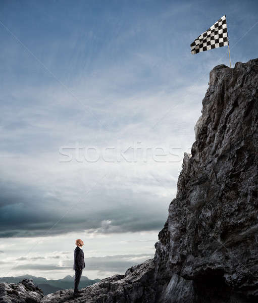 Business concept of businessman overcome the problems Stock photo © alphaspirit