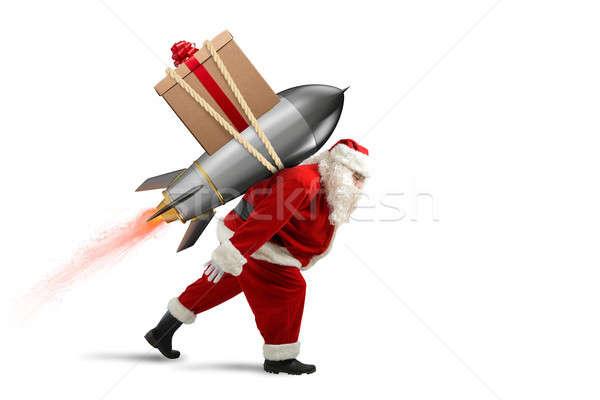 быстро доставки Рождества подарки Дед Мороз готовый Сток-фото © alphaspirit