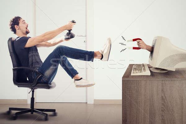 Nino mundo videojuegos dependencia virtual juegos Foto stock © alphaspirit