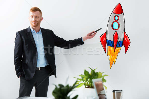 бизнесмен рисунок ракета бизнеса улучшение Сток-фото © alphaspirit