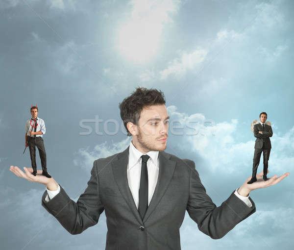 Biznesmen diabeł anioł wybierać niebo Chmura Zdjęcia stock © alphaspirit