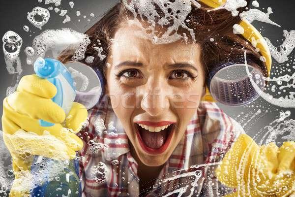 絶望的な 主婦 洗浄 ガラス 女性 家 ストックフォト © alphaspirit