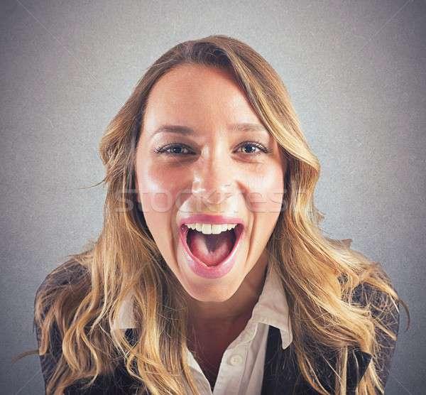 Stock photo: Businesswoman screaming