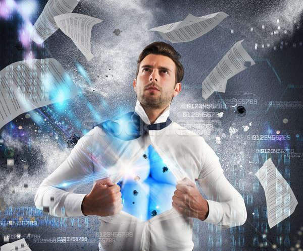Invincible business superhero Stock photo © alphaspirit