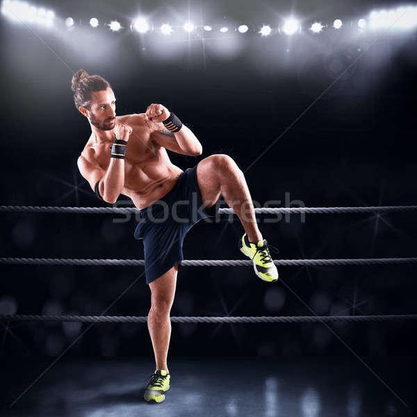 Homme anneau prêt lutte adversaire boîte Photo stock © alphaspirit