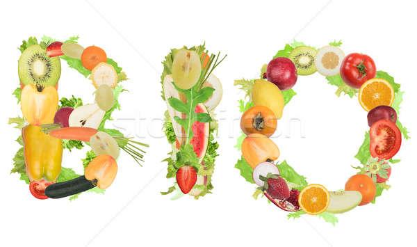 Bio vruchten groenten vorm woord gezonde voeding Stockfoto © alphaspirit