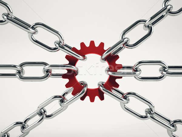 Cooperation business concept with chains. mixed media Stock photo © alphaspirit