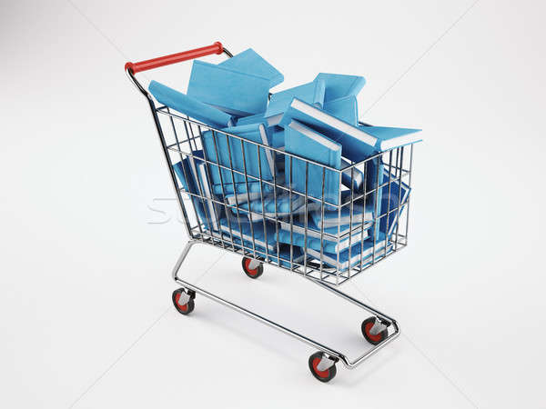 Shopping cart full of books. 3D Rendering Stock photo © alphaspirit