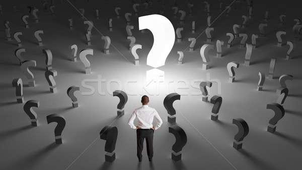 Zakenman veel vragen bezorgd werk man Stockfoto © alphaspirit