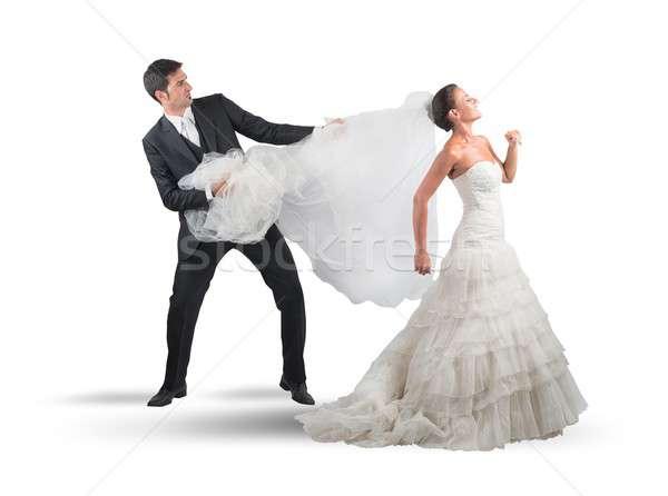 Peçe koca düğün adam evlilik Stok fotoğraf © alphaspirit