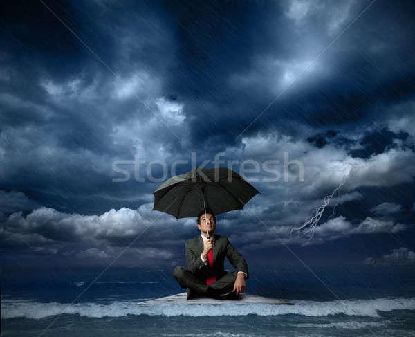 Zakenman vlot storm water man werk Stockfoto © alphaspirit