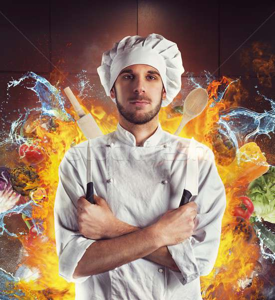 Buitengewoon chef messen water brand keuken Stockfoto © alphaspirit
