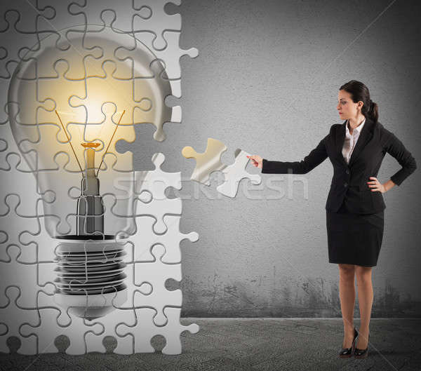 épít ötlet puzzle nő villanykörte fény Stock fotó © alphaspirit