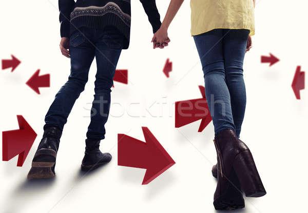 3D instrucciones futuro Pareja caminata Foto stock © alphaspirit