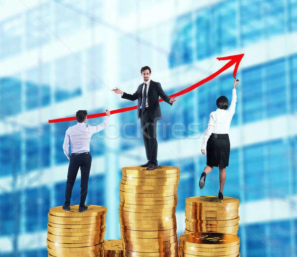 équipe commerciale croissant flèche société statistiques argent Photo stock © alphaspirit