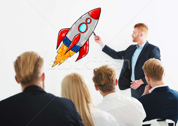 Zakenman tekening raket opleiding vergadering business Stockfoto © alphaspirit