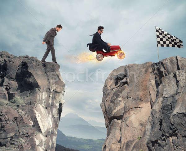 Szybko biznesmen samochodu sukces konkurencja Zdjęcia stock © alphaspirit