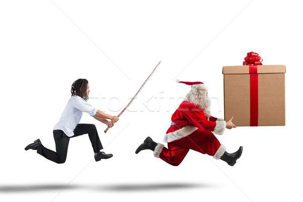 Santa Claus running Stock photo © alphaspirit
