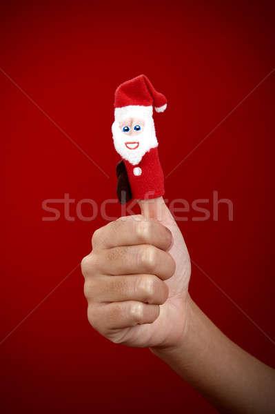 クリスマス 人形 指 赤 笑顔 楽しい ストックフォト © alphaspirit