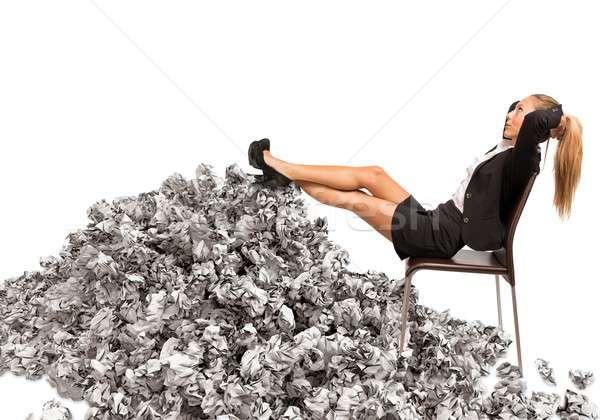 過重労働の 女性実業家 女性 ストックフォト © alphaspirit